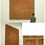 """Sem título (""""Tumor""""), 2010, tijolo baiano, concreto, ferro e cola epóxi, 300 x 300 x 10 cm"""