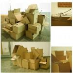 """""""Unknown 3"""", 2010, caixa de papelão, fita adesiva e arame farpado, dimensões variáveis"""