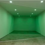 """""""Três Seções"""", 2011, madeira, cêra de piso e pintura sobre parede, dimensões variáveis"""