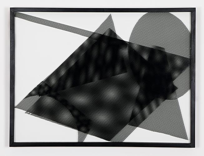 """""""Colagens pretas"""", 2014, colagem de adesivo perfurado sobre vidro, 50x70 cm"""