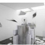 """""""Construção de Valores"""", 2012, ventiladores industriais e fotocópias em papel A4 papel, dimensões variáveis, exposição Future Generation Art Prize 2012, Pinchuck Art Centre, Kiev, Ucrânia, 2012"""