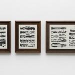 """""""Estudo 1"""", da série """"Estudos de Debussy"""", 2016, nanquim sobre partitura, 41 x 33,5 x 4 cm (2 peças) e 41 x 57 x 4 cm (1 peça)"""
