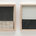 """""""Abstração instável"""", 2011, papel, grafite, borracha e molduras de madeira"""