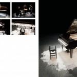 Metade da fala no chão - piano surdo | piano de cauda, cera microcristalina, vaselina, pianista e vídeo | aprox. 500x500x200cm | 2010 | foto Everton Ballardin Produção Fundação Bienal de São Paulo