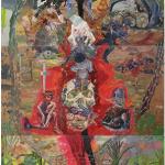 """""""O ouro-aborto da brancura e a cerca fecal do dono da terra"""", 2013, óleo sobre tela, 300x180 cm"""