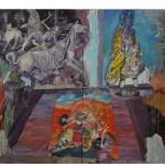 """""""Dona Herondina sobre Viviane impede o triunfo da Morte e repete a vitória de Durga sobre o Demônio Mahisha"""", 2010, óleo sobre tela, 280x200 cm."""