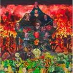 """""""Árvore de Sangue e Fogo que Consome Porcos"""", 2013, óleo sobre tela, 390x360 cm"""
