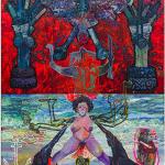 """""""A Durga de 7 braços de Ogum pare a rébis mestiça sob a ameaça do moedor de carne ultramarino do liberal Mahisha"""", 2014, óleo sobre tela, edição: N/A, 360x260 cm"""