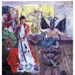 """""""O teatro nagô cartesiano sob o auxílio de um Baphomet sincretizado"""", 2011,  óleo sobre tela, 200x180 cm"""