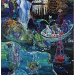 """""""O Ninguém usa o God Helmet e cega Polifemo sob o auxílio de Iemanjá"""", 2012, óleo sobre tela, 260x180 cm"""