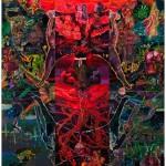 """""""Iroko entre a Concepção e Parto da Rébis Mestiça Aponta o Culto ao Cliché Alegórico como Causa dos Males"""", 2013, óleo sobre tela, 360x300 cm"""