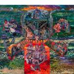 """""""Kwaku Ananse Revive o Karma do suplício do Bastardo da Brancura sob as Botas de Mercadores de Ferro Sujo"""", 2013, óleo sobre tela, 360x390 cm"""