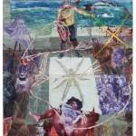 """""""Anasi conta a história do nascimento do bastardo da brancura nas rotas do grande açougue intercontinental"""",  2012, óleo sobre tela, 260x180 cm"""