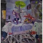 """""""Herança de Iroco ou Cama de Ulisses"""", 2010, óleo sobre tela, 200x180 cm"""