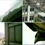 """""""Viajando no poder - Panorama do Estado do Rio de Janeiro"""", 2011, falcão, micro câmera e sistema de monitoramento instalado na cabine de segurança da universidade, UERJ, Rio de Janeiro, RJ"""