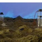 """""""Deserto"""", 2006, instalação, projeção, múltiplos canais de áudio, alto falantes, fios, areia e materiais diversos, dimensões variáveis"""