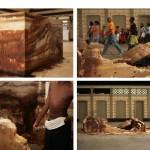 """""""Canto Doce - Pequeno Labirinto"""", 2006, instalação, dimensões variáveis, vídeo, 18'27"""", cor, som, fragmento de labirinto em forma de dois """"U"""" fora de eixo construídos com açúcar fundido, Estação Ferroviária da Calçada, Salvador, BA"""