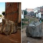 """""""Mar de dentro"""", 2005, fotografia, objeto realizado junto a uma comunidade, tendo como matéria restos de madeira e cimento"""