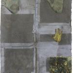 """""""Laje # 58 (segundo assalto)"""", 2014, cimento e recortes de jornal, 51x64,5x3 cm"""