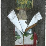 """""""Laje # 4 (leite)"""", 2011, com técnicas de fotografia, desenho e colagem em concreto armado, embalagem de leite e papel 22x33x3 cm, detalhe de instalação na mostra """"PIPA 2012"""", MAM-Rio, Rio de Janeiro, RJ"""