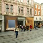 """""""Lâmpada aberta"""", 2004 e """"Lâmpada fechada"""", 2001 -  fotografias da série Fundos  -  mostra Schaurausch, OK Centrum, Linz Austri - impressão jato de tinta sobre lona vinilica - 400x400 cm cada."""