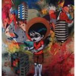 """""""A chegada de Pedro, o Grande"""", 2011, tinta spray, óleo e colagem sobre compensado de madeira, 220x160 cm"""