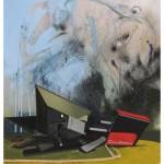 """""""Caça ao tesouro"""", 2012, óleo e spray sobre tela, 195x120 cm"""