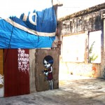 """Meu Lar"", 2009, graffiti em barraco na cobertura do Moinho Santo Antonio, site specific"