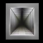 """""""Espectro nº 2"""", 2013, caixa de madeira, vidro antique, espelho, aço e LEDs, edição: 1/3, 91x82x19 cm"""