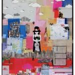 """""""A ordem do caos"""", 2008, colagem, marcadores, grafite e giz pastel óleo sobre mdf, 220x300 cm"""
