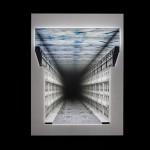"""""""Encontros nº 3"""", 2013, caixa de madeira, maquete, espelhos, acrílico e LEDs, edição: única, 83x63x23 cm"""