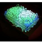 """""""Atlântica- da"""", 2011, pintura automotiva sobre marcenaria, acrílico cristal, espelhos, monitor de led, projeção e circuito elétrico, 100 x 72 x 60 cm"""