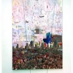 """""""Nascer"""", 2008, colagem, spray e acrilica sobre mdf, 320x220 cm"""
