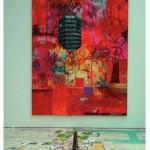 """""""Viver"""", 2008, colagem, spray e acrilica sobre mdf, 320x220 cm"""