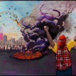 """""""Revolução fashion"""", 2011, colagem, tinta spray e óleo sobre compensado de madeira, 220x320 cm"""