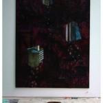 """""""Morrer"""", 2008, colagem, spray e acrilica sobre mdf, 320x220 cm"""