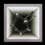"""""""Ágata nº 5"""", 2013, caixa de madeira, ágata, pentagonita, espelhos e LEDs, edição: P.A., 72x72x10 cm"""