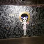 """""""Direitos ou deveres?"""", 2009, tinta spray e giz branco sobre compensado de madeira, 230x520 cm"""
