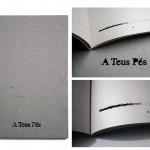 """""""A Teus Pés"""", 2012, livro de artista feito com serigrafia sobre papel jornal, papel color plus, e papel holler cortado a laser, 21,5x15x1 cm, tiragem de 30 exemplares e 06 P.A."""