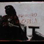 """""""Canções de Amor no Templo do Rock (Newton e Carol)"""", 2003, acrílica sobre papelão"""