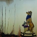 """""""O Cavalo do Cão #1"""", 2013, óleo sobre tela, 110x110x4 cm"""