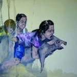 """""""Contato e Improvisação Porco"""", 2013, óleo sobre tela, 180x130x4 cm"""