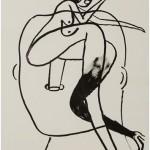"""""""Cabeça com mulher 01"""", 2013, 59x41,8 cm, nanquim sobre papel"""