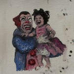 """""""Menina e o Palhaço do Mal"""", 2011, óleo sobre tela, 20x20 cm"""