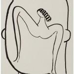 """""""Cabeça com mulher 03"""", 2013, 59x41,8 cm, nanquim sobre papel"""