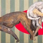 """""""Projeto Pós Fim do Mundo #2"""", 2013, óleo sobre tela, 400x200 cm"""