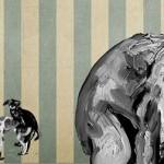 """""""Projeto Pós Fim do Mundo"""", 2013, óleo sobre tela, 400x200 cm"""