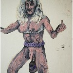 """""""Segurando a Garrafa com o Cú"""", 2011, óleo sobre tela, 20x20 cm"""