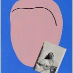 """""""Homem rosa e bailarina"""", 2012, 85x67,5 cm, acrílica e colagem sobre tela"""