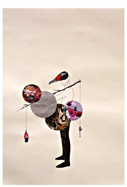 """Sem título, da série """"Bolas e cabeças"""", 2013, desenho em nanquim e colagem sobre papel, 60x42 cm"""